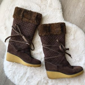 MARC JACOBS Brown Suede Winter Wedge Boots